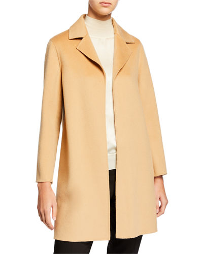 Double Face A-Line Cashmere Coat w/ Notch Collar