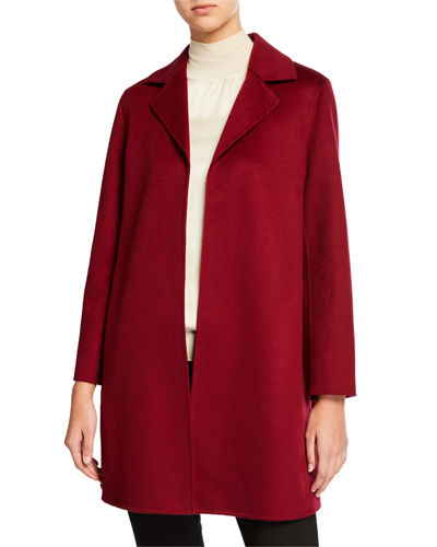 Double Face Cashmere Wrap Coat w/ Notch Collar