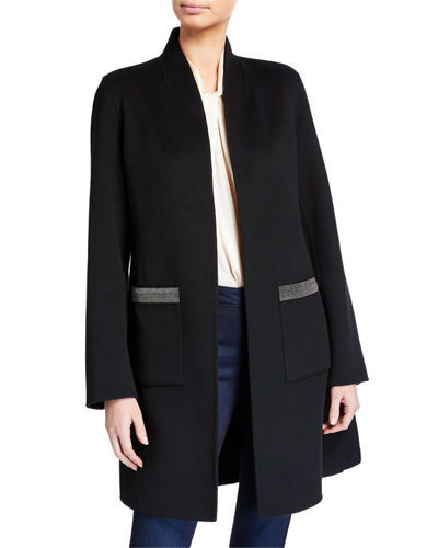 Neiman Marcus Cashmere Collection Double Face Cashmere Shawl Collar Coat w/ Chain Trimmed Pockets