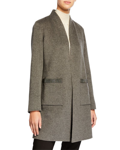 Double Face Cashmere Shawl Collar Coat w/ Chain Trimmed Pockets