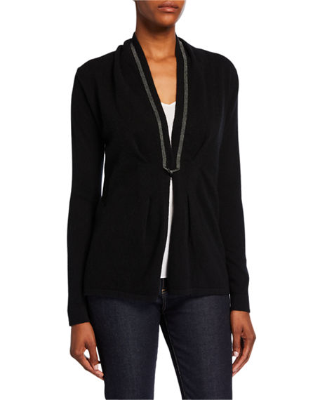 Neiman Marcus Cashmere Collection Chain Trim Toggle-Front Long-Sleeve Cashmere Cardigan