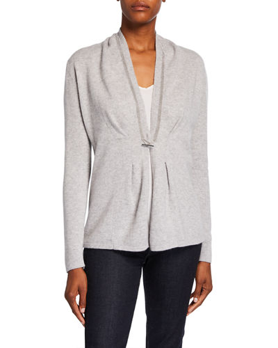 Chain Trim Toggle-Front Long-Sleeve Cashmere Cardigan