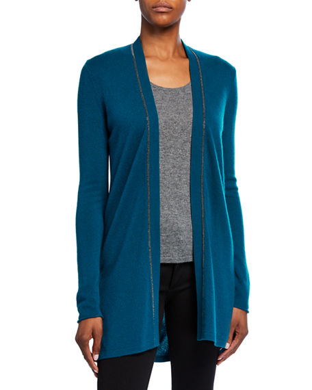 Neiman Marcus Cashmere Collection Cashmere Cardigan with Chain Trim