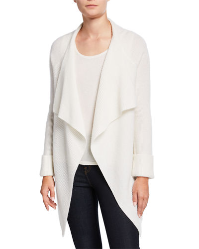Cashmere Ribbed Drape-Front Cardigan