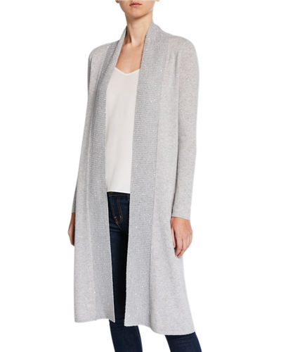 Sequined Open-Front Duster Cardigan