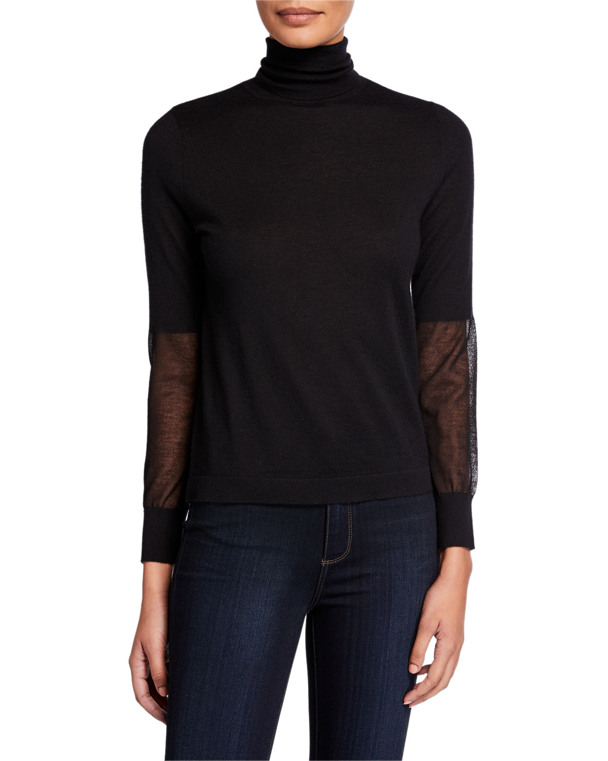 Superfine Cashmere Turtleneck Sweater with Sheer Panels