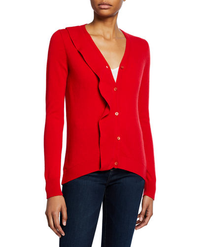 Cashmere Button-Front Ruffle Cardigan