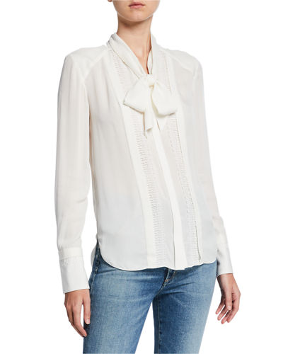 Inna Tie-Neck Long-Sleeve Silk Blouse