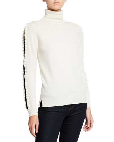 Cashmere Turtleneck Sweater Lace Inset Ruffle Detail