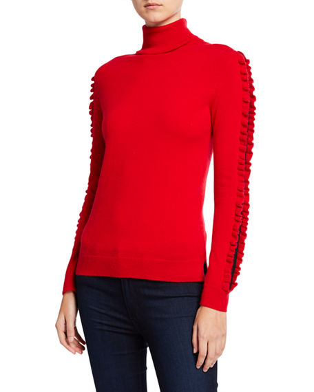 Neiman Marcus Cashmere Collection Cashmere Turtleneck Sweater Lace Inset Ruffle Detail