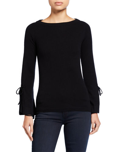 Boat-Neck Cashmere Sweater with Tie Silk Cuff Detail