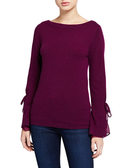 Neiman Marcus Cashmere Collection Boat-Neck Cashmere Sweater with Tie Silk Cuff Detail