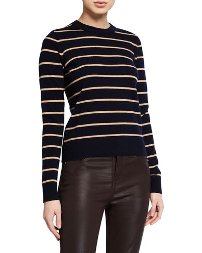 Striped Overlay Cashmere Crewneck Sweater