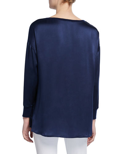 Neiman Marcus Cashmere Collection Boat-Neck Silk Sleeve & Back Cashmere Sweater