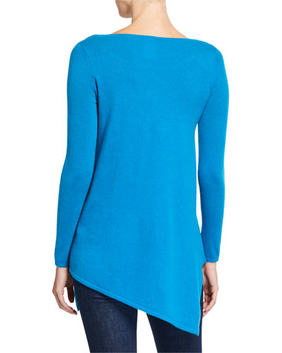 Neiman Marcus Cashmere Collection Boat-Neck Long-Sleeve Asymmetric Cashmere Sweater