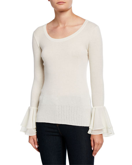 Neiman Marcus Cashmere Collection Ribbed Cashmere Scoop-Neck Ruffle-Cuff Sweater