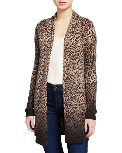 Ombre Leopard-Print Cashmere Duster Cardigan