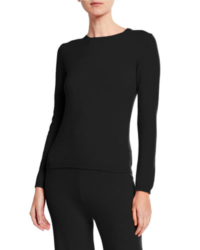 Neiman Marcus Cashmere Collection Plus Size Cashmere Crewneck Sweater & Pant Lounge Set