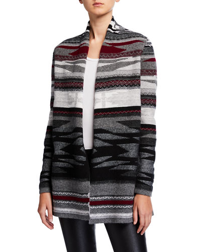 Navajo Stripe Open-Front Cashmere Cardigan