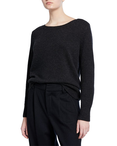 Boat-Neck Cashmere Pullover Sweater