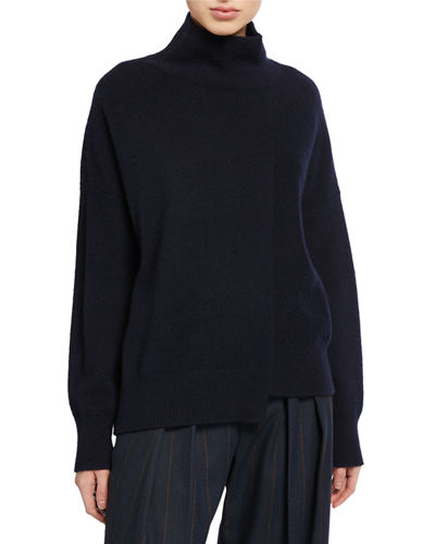 Stepped-Hem Turtleneck Sweater