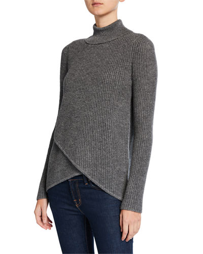 Crossover Ribbed Turtleneck Cashmere Sweater