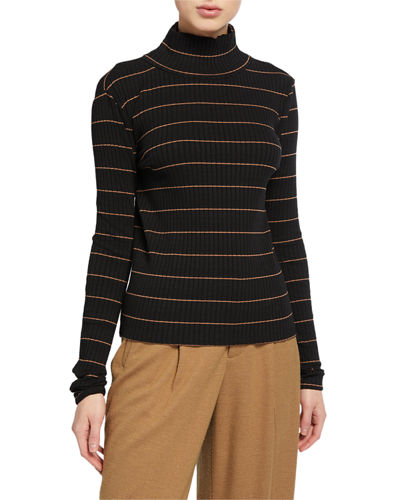 Striped Rib Turtleneck Pullover