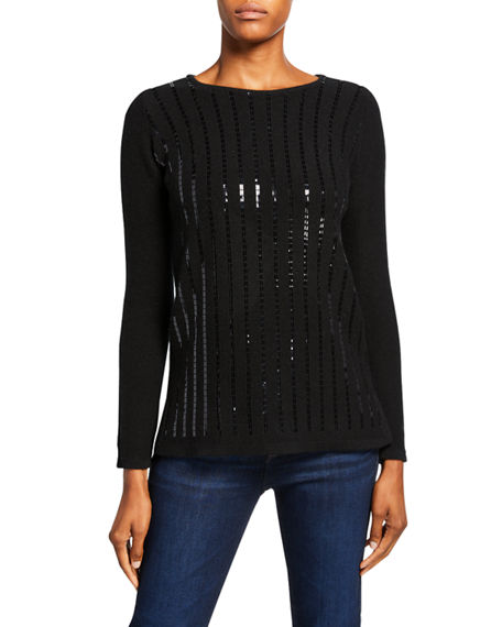 Neiman Marcus Cashmere Collection Sequin Stripe Boat-Neck Cashmere Sweater