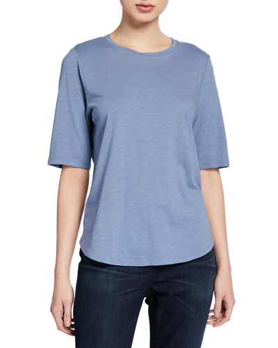 Plus Size Organic Cotton Elbow-Sleeve Jersey Tee