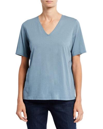 Petite Organic Cotton V-Neck Short-Sleeve Jersey Tee