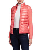 Moncler Knit-Sleeve Hooded Puffer Cardigan