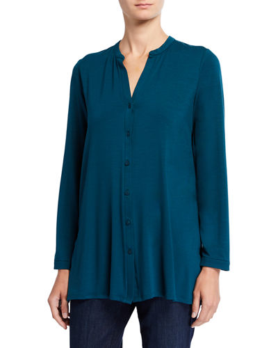 Plus Size Button-Front Tunic Shirt with Mandarin Collar