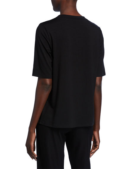 Image 2 of 2: Eileen Fisher Mock-Neck Elbow-Sleeve Jersey Top