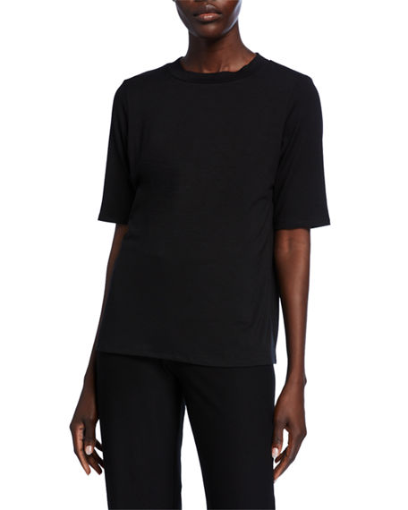 Image 1 of 2: Eileen Fisher Mock-Neck Elbow-Sleeve Jersey Top