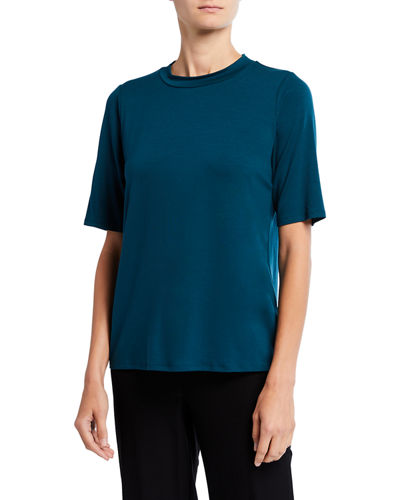 Eileen Fisher Plus Size Mock-Neck Elbow-Sleeve Jersey Top