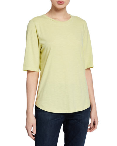 Petite Organic Cotton Elbow-Sleeve Jersey Tee