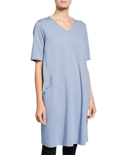 Petite V-Neck Short-Sleeve Jersey Dress