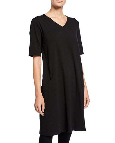 V-Neck Short-Sleeve Jersey Dress
