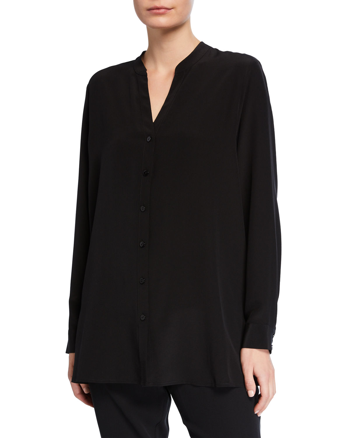 Eileen Fisher T-shirts SILK CREPE BUTTON-FRONT SHIRT