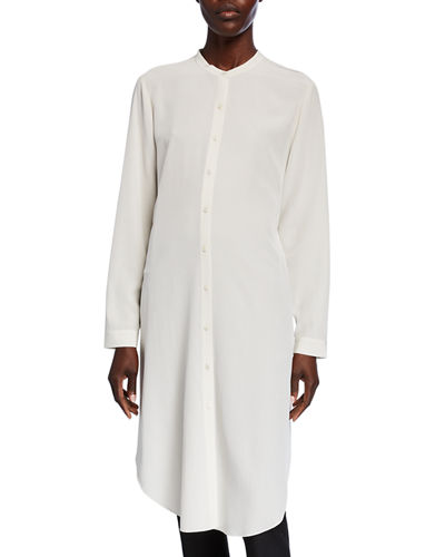 Silk Crepe Button-Front Long Shirtdress w/ Mandarin Collar