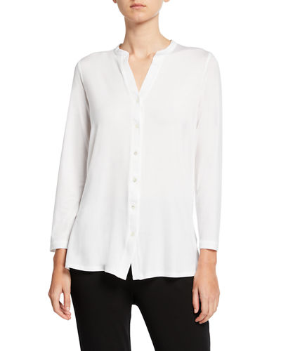 Button-Front Tunic Shirt with Mandarin Collar