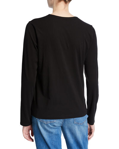 Eileen Fisher Organic Cotton V-Neck Long-Sleeve Jersey Tee