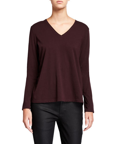 Organic Cotton V-Neck Long-Sleeve Jersey Tee