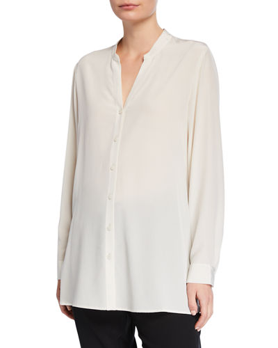 Plus Size Silk Crepe Button-Front Shirt