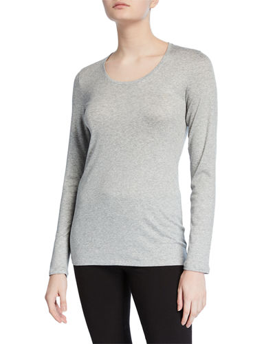 Long-Sleeve Scoop-Neck Rib Tee