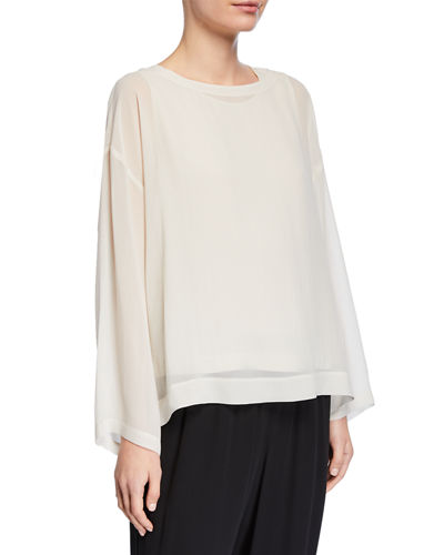 Ballet-Neck Long-Sleeve Sheer Silk Boxy Top
