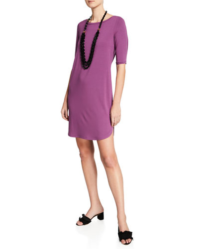 Elbow-Sleeve Shirttail-Hem Jersey Dress