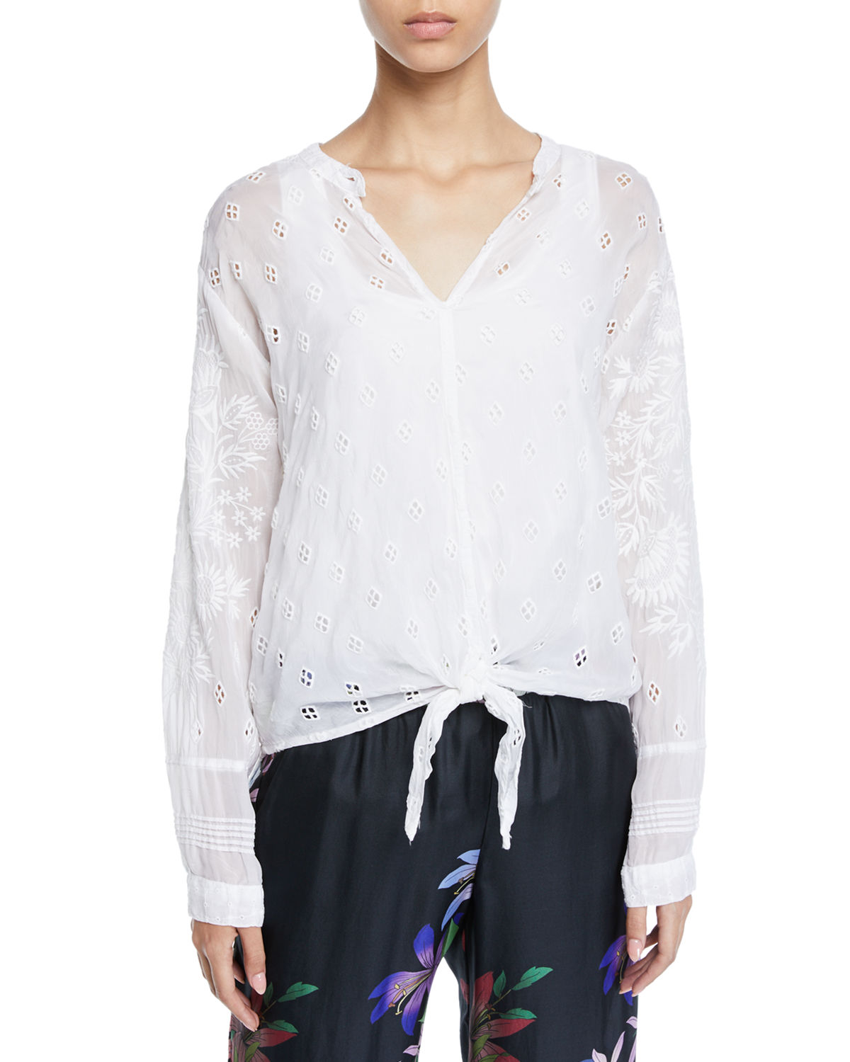 Johnny Was Tops PLUS SIZE HUNTER LONG-SLEEVE TIE-FRONT SHEER GEORGETTE BLOUSE