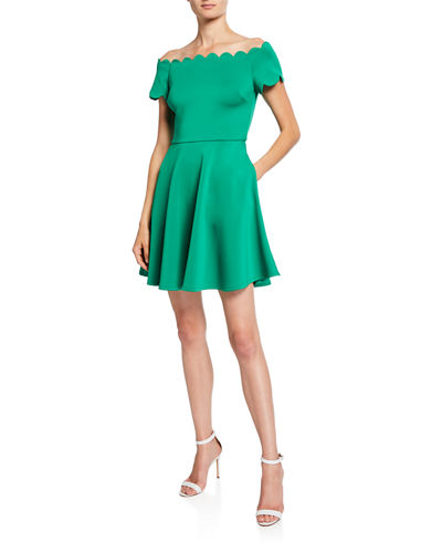 Ted Baker London Bardot Scallop Off-the-Shoulder Crepe Skater Dress