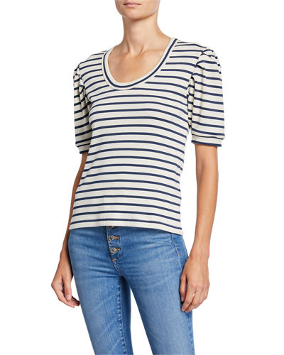 Fleta Striped Scoop-Neck Top